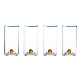Golden Globe Highball Glass with Blue Trim - Set of 4 For Sale