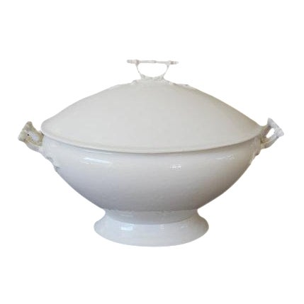 Vintage John Maddock & Sons White Ironstone Soup Tureen For Sale
