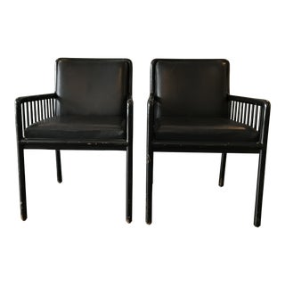 1980s Vintage Ward Bennett for Brickel Occasional Leather Chairs - a Pair For Sale