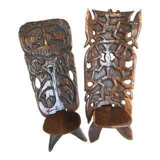 Vintage Heavily-Carved African Chairs - A Pair For Sale