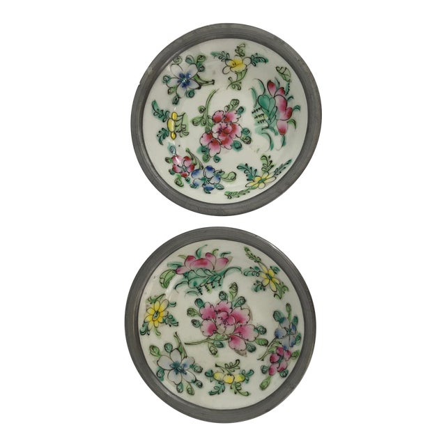 Pewter Clad Chinese Porcelain Dishes - a Pair For Sale