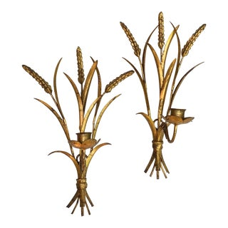 Italian Tole Wheat Sheaf Candle Sconces - a Pair For Sale