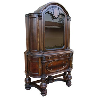 Antique Jacobean English Style Walnut Hutch