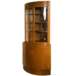 Grosfeld House Bow Front Corner Cabinet For Sale