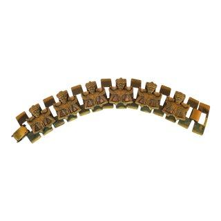 Mid-Century Modern Asian Warrior Antiqued Copper Bracelet 1950s For Sale