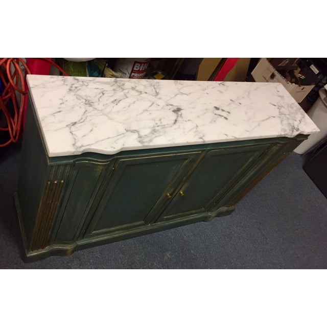 Blue 1950s Shabby Chic Marble Top Green Console Table For Sale - Image 8 of 11