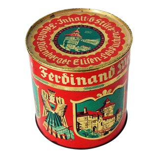 1920s Vintage Ferdinand Wolff German Christmas Lebkuchen Tin For Sale
