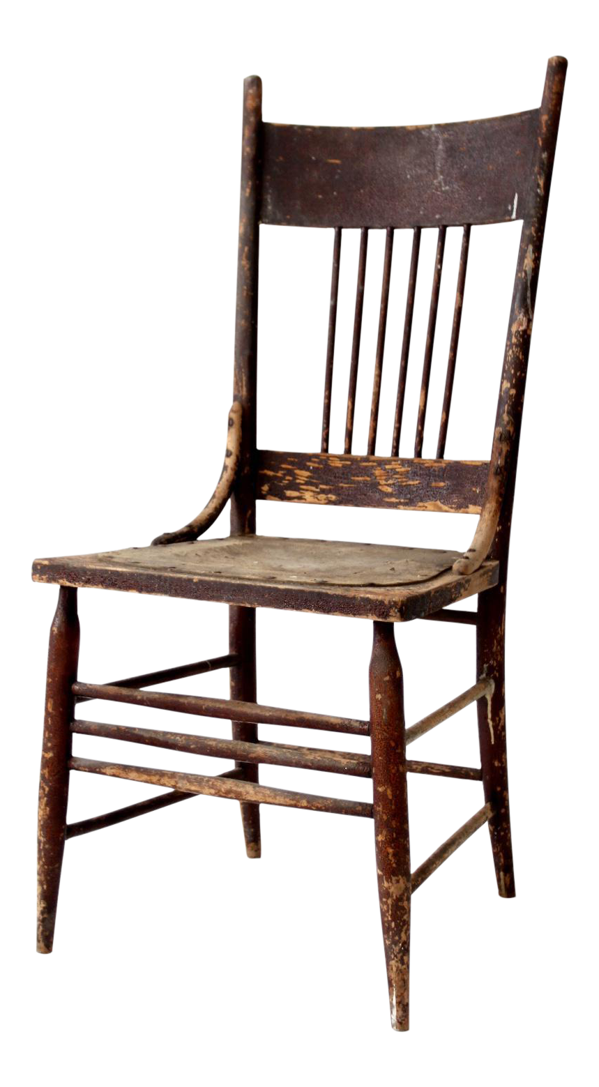 Antique Pressed Leather Seat Spindle Back Chair  sc 1 st  Chairish & Antique Pressed Leather Seat Spindle Back Chair | Chairish