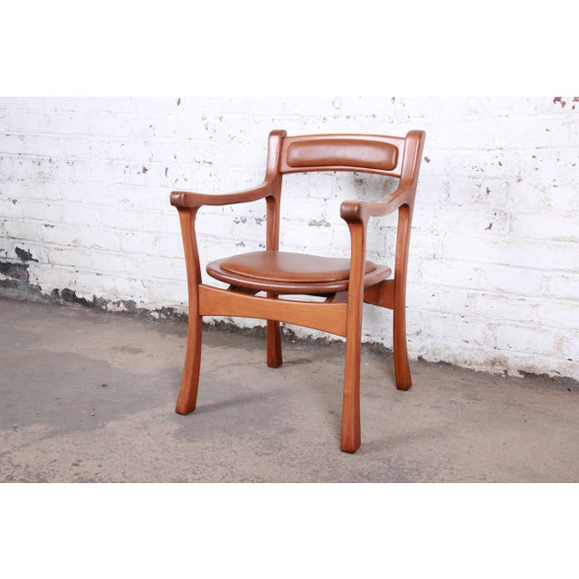 1960s Sculpted Solid Teak and Leather Studio Crafted Club Chairs - a Pair For Sale - Image 10 of 13