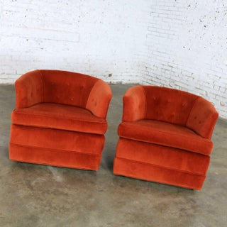 Vintage Petite Pair Hollywood Regency MCM Barrel Chairs in Burnt Orange on Casters Preview