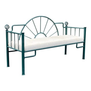 Iron Sunrise Bench With Upholstered Seat For Sale