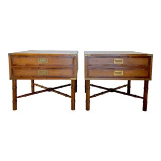 1970's Hekman Campaign Faux Bamboo Nightstands - a Pair For Sale