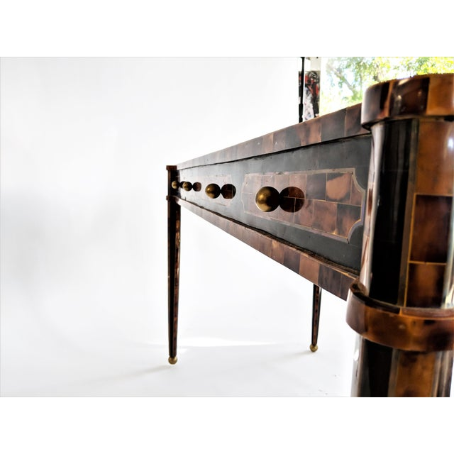Maitland Smith Tesselated Horn and Brass Writing Partner Desk - Image 9 of 11