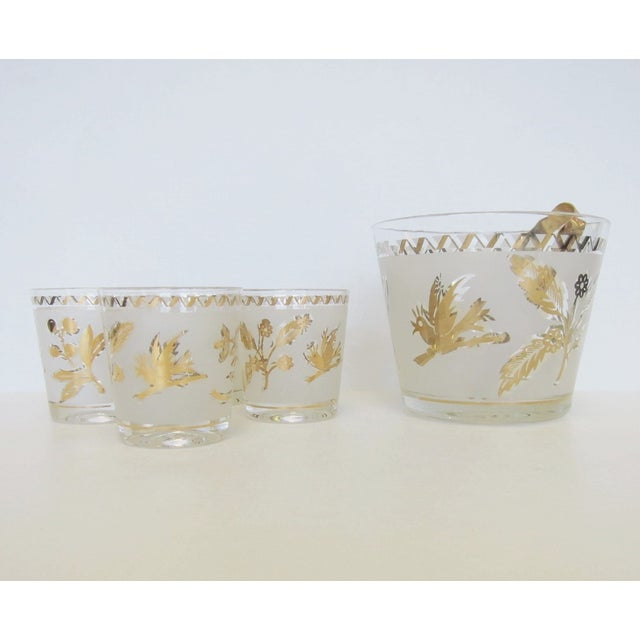 Vintage Gold Leaf Ice Bucket and 4 Rocks Glasses - Image 2 of 5