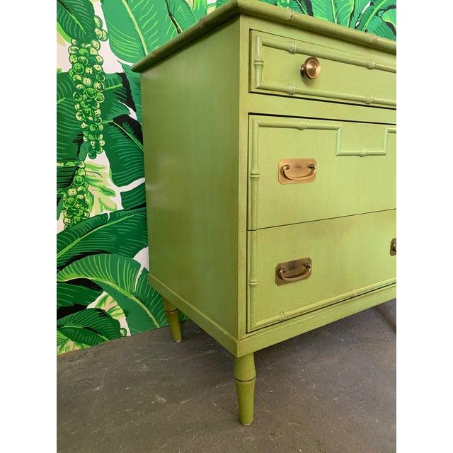 Hollywood Regency Vintage Ficks Reed Faux Bamboo Dresser For Sale - Image 3 of 7