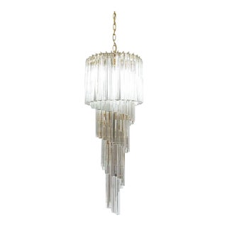 Venini Five-Tier Swirling Chandelier Lamp with Murano Glass Triedri Prisms, 1960 For Sale