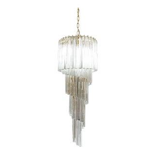 Venini Five-Tier Swirling Chandelier Lamp with Murano Glass Triedri Prisms, 1960