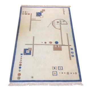 Tibetan Ivory Hand-Knotted Contemporary Rug With Fun Geometric Design - 3'x5' For Sale