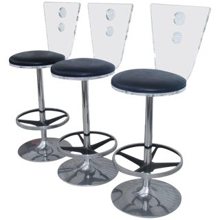 Three Modern Lucite Chrome and Vinyl Stools H Studios For Sale