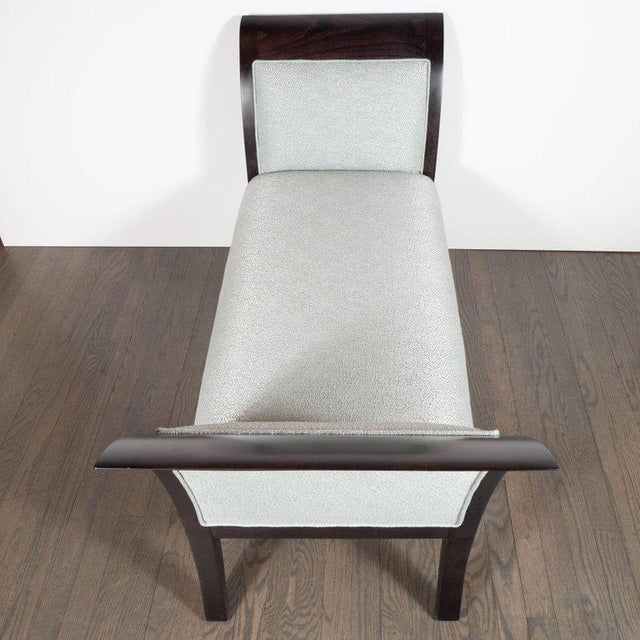 Walnut Midcentury Streamlined Bench in Ebonized Walnut and Powder Blue Woven Fabric For Sale - Image 7 of 8