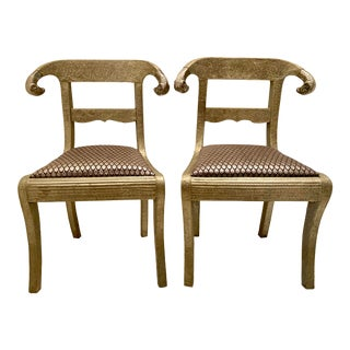 Brass Clad Embossed Chairs With Ram's Heads - a Pair For Sale
