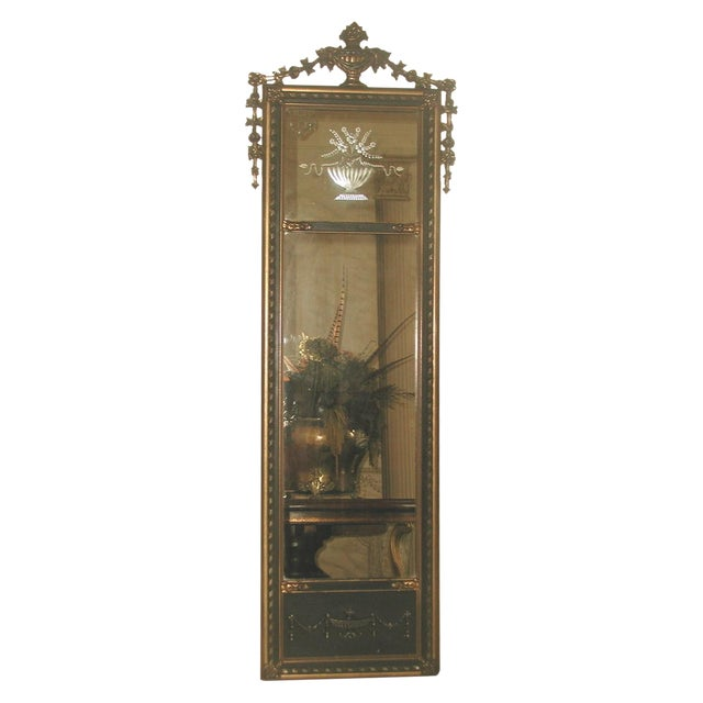 Neoclassical French Gilt Black Etched Mirror - Image 1 of 8