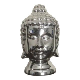 Large High Gloss Silver Finish Ceramic Buddha Head For Sale