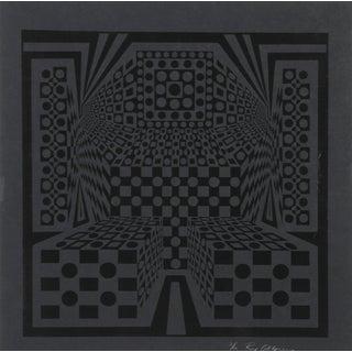 """1970s Roy Ahlgren, """"Desert Icon Exp"""", Op Art Screenprint For Sale"""