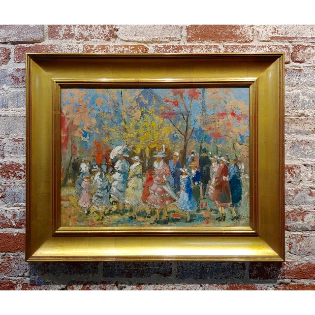 """French Impressionist """"Ladies With Parasol in an Outdoor Party"""" C.1900s For Sale - Image 10 of 10"""