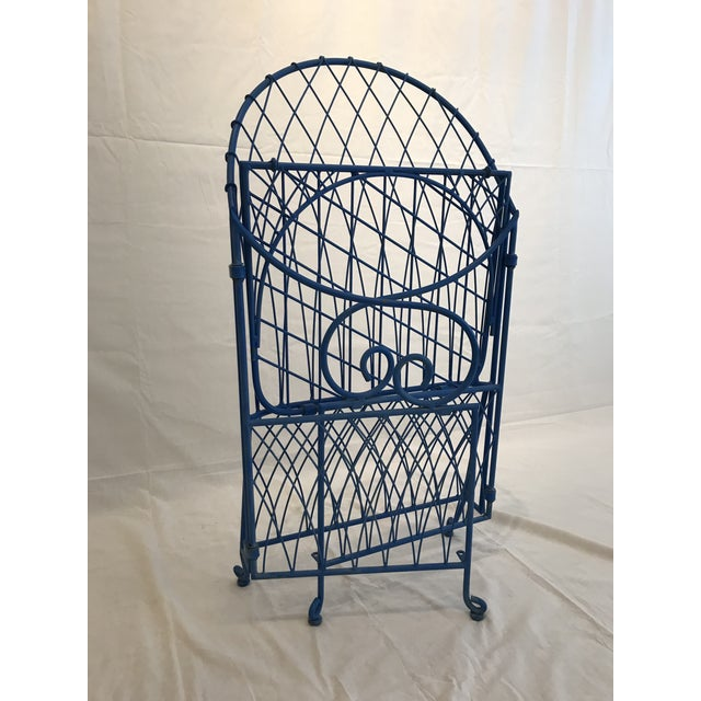 Blue Vintage Italian Iron Folding Chairs - A Pair For Sale - Image 8 of 9