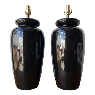 Mid-Century Modern Art Deco Inspired Large Ceramic Table Lamps. C 1980s () - a Pair For Sale
