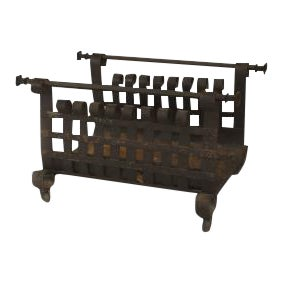 American Mission style (19/20th Cent) wrought iron log holder (magazine rack) with a scroll design sides