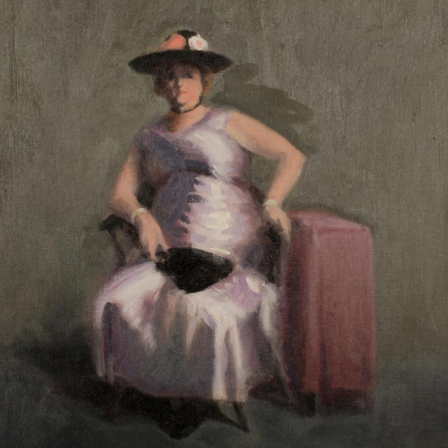 """Mid 20th Century Mid 20th Century """"Violet Madame"""" Portrait Oil Painting by A. Nichols For Sale - Image 5 of 7"""