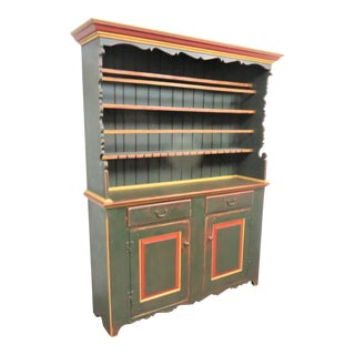 David T Smith Country Painted Stepback Cupboard For Sale