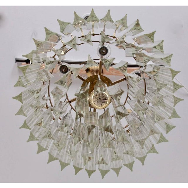 Mid-Century Modern Huge Murano Triedri Glass and Brass Chandelier by Venini For Sale - Image 3 of 7