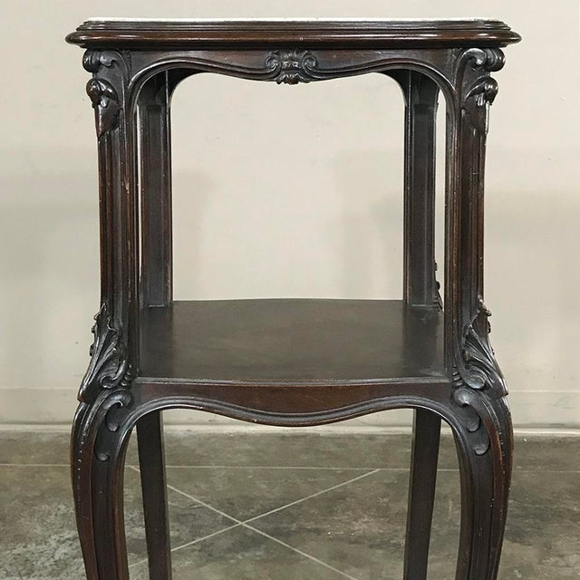Black 19th Century French Solid Rosewood Nightstand - Etagere Lamp Table For Sale - Image 8 of 12