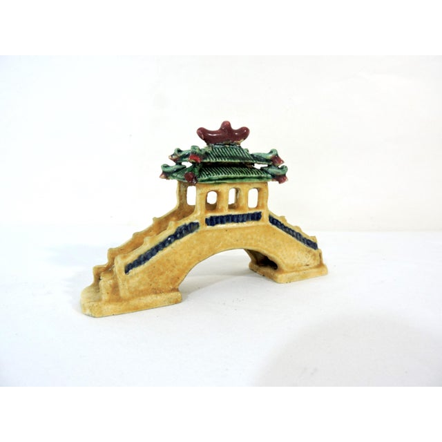 Vintage Ceramic Chinese Planter / Garden Ornaments - Bridge, Temple and Pavilion - Set of 3 For Sale - Image 4 of 6