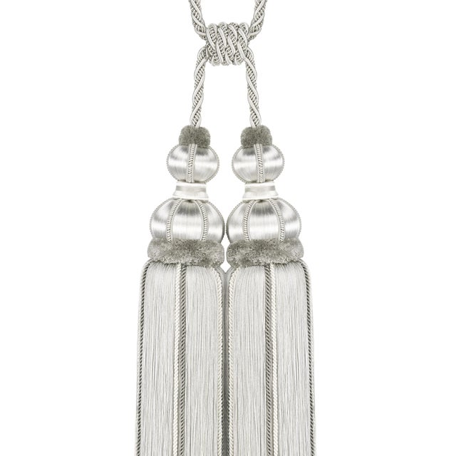 """""""One double tassel tieback in tones of silver, platinum & white. All tassels are individually handmade and while every..."""