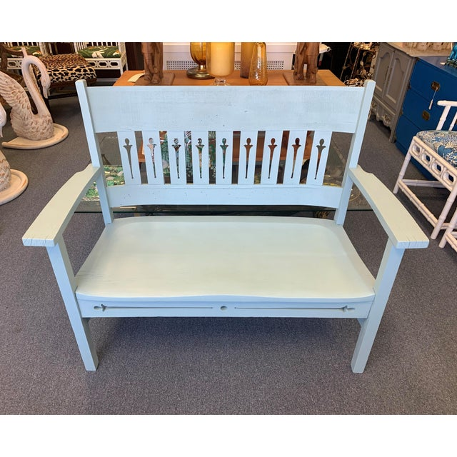 Vintage 1940's Farmhouse Chic Solid Oak Handcrafted Bench. This solid oak bench features a shaped back with pierced detail...