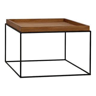Bebe Side Table in Metal Base with Gold Teak Top For Sale