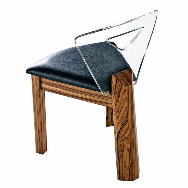 Vintage Modern Lucite Back Zebra Wood Dining Chairs - New Black Vinyl For Sale - Image 4 of 9