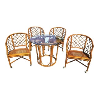 Vintage Chippendale Ficks Reed Bamboo Rattan Caned Dining Cocktail Set Table and Rolling Chairs- 5 Pieces For Sale