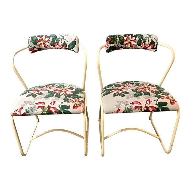 Pair 1940's Painted Steel and Bark Cloth Side Chairs For Sale