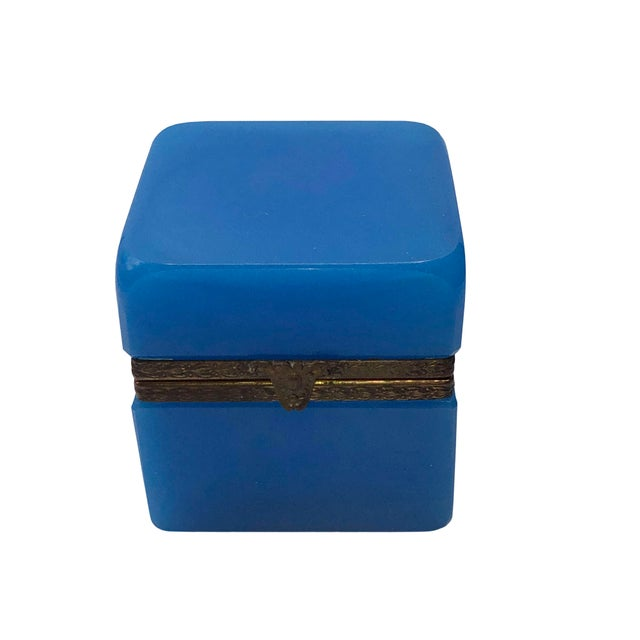 Blue 1940s French Blue Opaline Trinket Box For Sale - Image 8 of 8