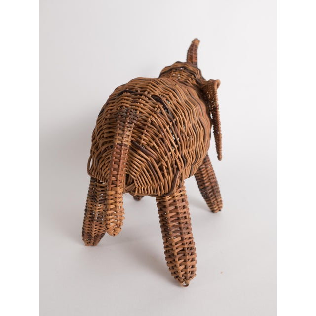 1970s Vintage Wicker Elephant Statue For Sale - Image 5 of 13