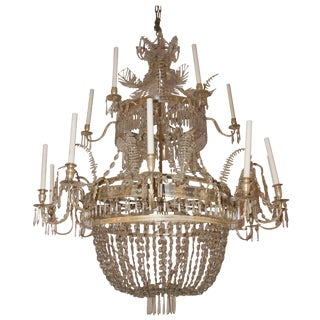 1925 Swedish Glass and Silver Brass Chandelier