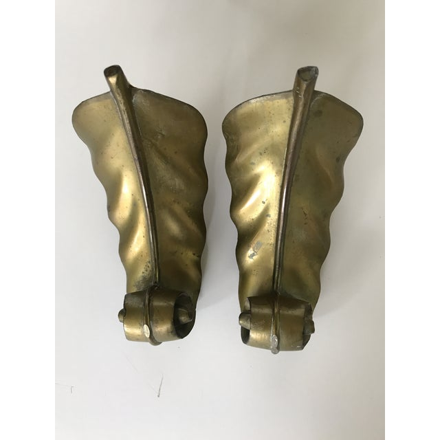 Vintage Brass Feather Leaf Bookends - Image 6 of 10