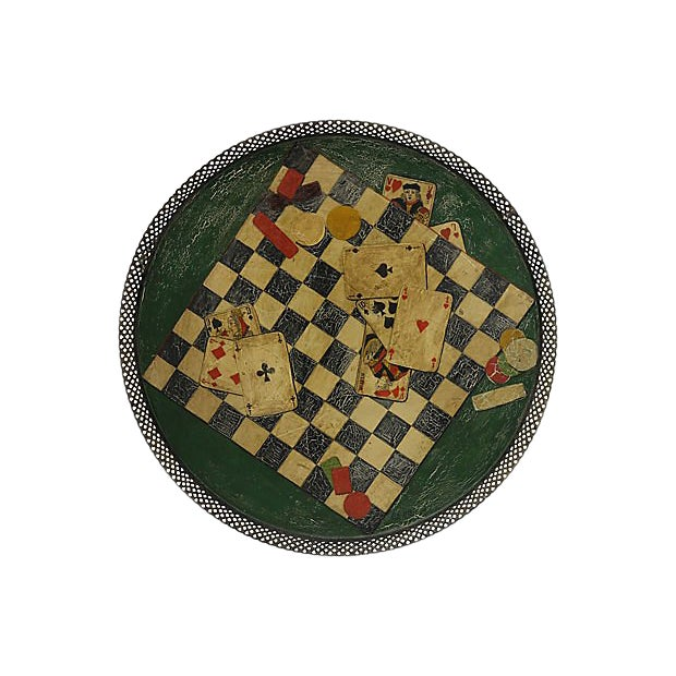 Antique French Gaming Tole Tray For Sale