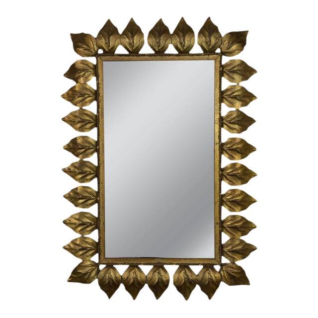 Rectangular Gilt Metal Sunburst Mirror For Sale
