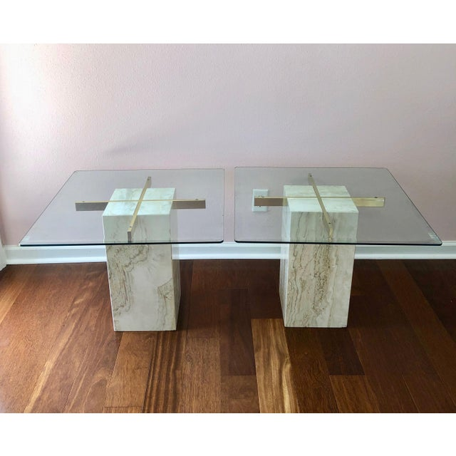 Gold 1970s Hollywood Regency Artedi Travertine and Brass End Tables - a Pair For Sale - Image 8 of 8
